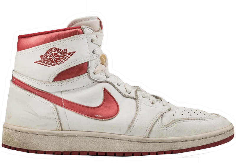 1985 Air Jordan White / Metallic Dark Red