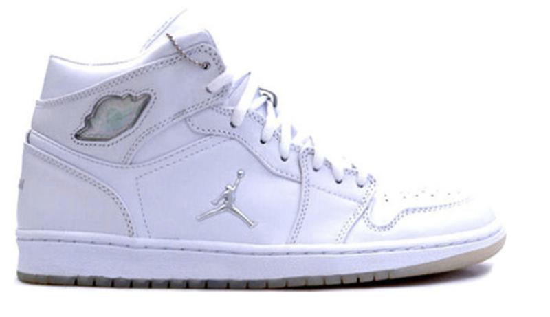 2002 Air Jordan 1  Retro White / Metallic Silver