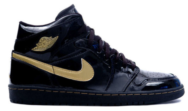 2003 Air Jordan 1 Retro Patent Leather Black / Metallic Gold