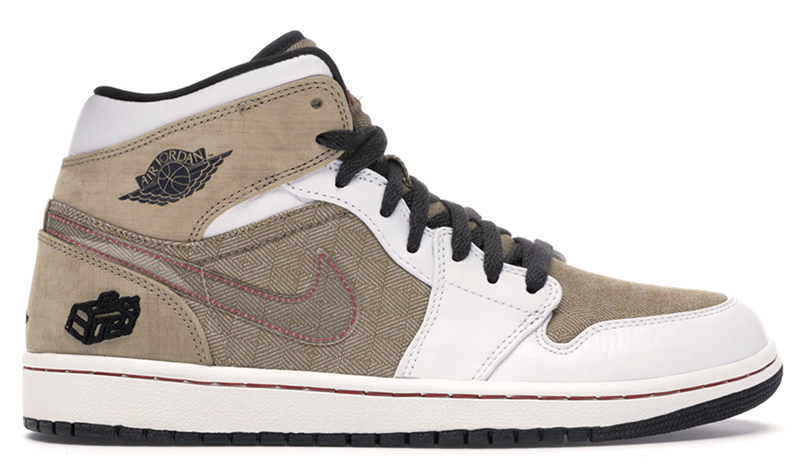 2008 Air Jordan 1 Retro Fathers Day White / Dark Charcoal / Tweed / Varsity Red