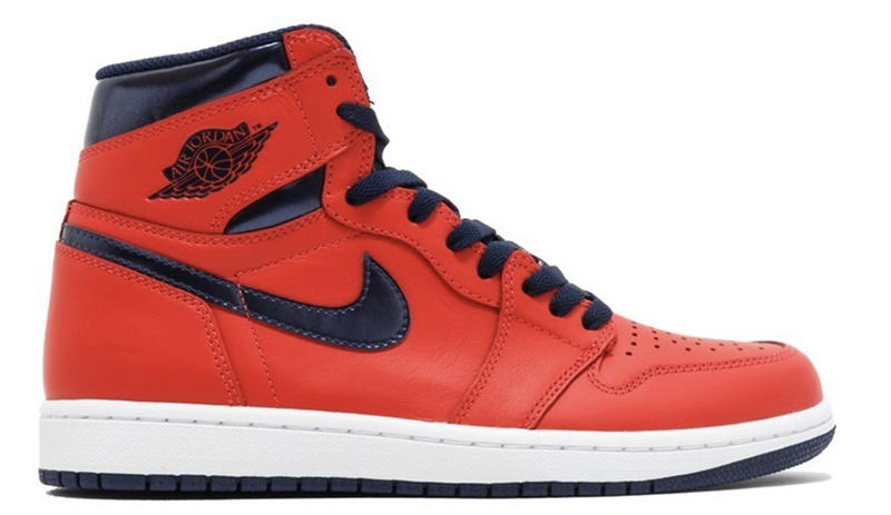 "2016 Air Jordan 1 Retro ""David Letterman"" Light Crimson / Midnight Navy - University Blue - White"